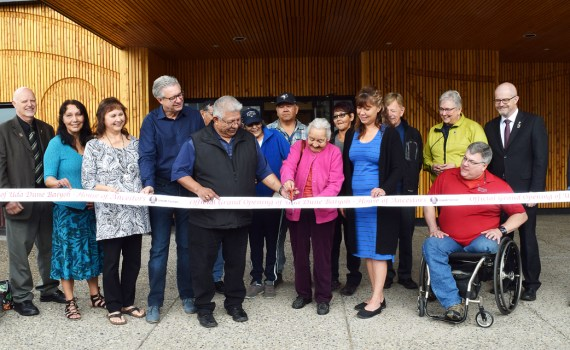 Lheidli T'enneh Chief Dominic Frederick, along with band elders and council, city council members, and regional district representatives, cut the ribbon to officially open Uda Dune Baiyoh - House of Ancestors. Located at 355 Vancouver Street the building has had many incarnations, from movie theatre to bingo hall, to furniture story facility. Uda Dune Baiyoh is intended to provide Prince George and the entire region with a venue that is warm and welcoming to the entire community, and showcases Lheidli T'enneh history, traditions, culture and identity. It has a large hall that can easily seat 200 or more people, smaller meeting rooms, and a full kitchen. It will be available for bookings by the end of August 2018. Bill Phillips photo