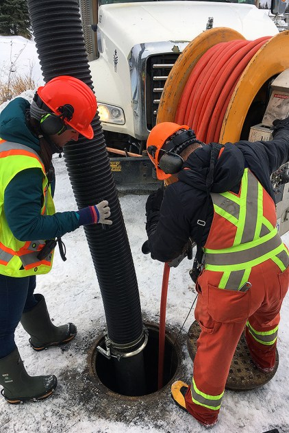 Crews use a vactor truck to help flush a blocked sanitary sewer line. The city receives roughly 500 requests per year to help clear blocked sanitary sewers. City of Prince George photo