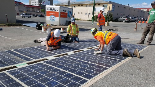 The City of Prince George partnered with construction company YCS Holdings Ltd. to install a 20m2 segment of solar-panel pavement that connects to City Hall. The Wattway solar road technology was developed by Colas Group, a French civil engineering firm headquartered in Paris. City of Prince George photo