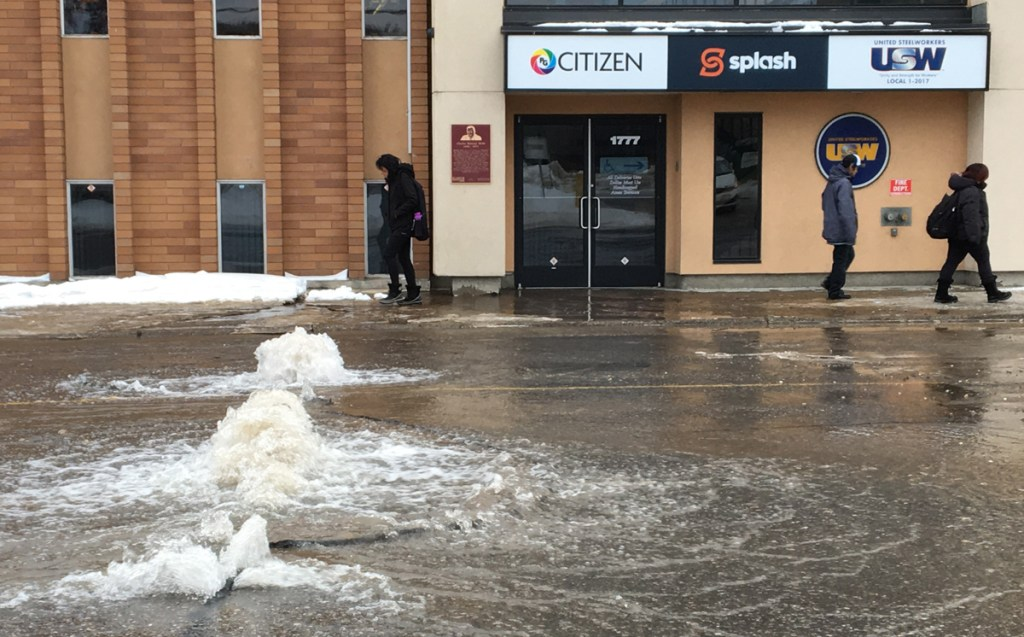 A watermain break on Third Avenue near Winnipeg Street forced the closure of Third Avenue at about 4:30 p.m. Wednesday. It's not known at this time how long it will take city crews to shut the water off. Bill Phillips photo