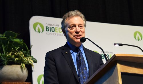 George Heyman, Minister of Environment and Climate Change Strategy, speaks at the Canadian Bioeconomy Conference and Exhibition in Prince George Friday. Bill Phillips photo