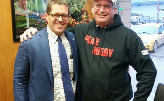Prince George-Peace River-Northern Rockies MP Bob Zimmer with Dawson Creek's Mark Rogers.