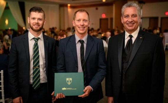 From left: UNBC Alumni Council President Andrew Seabrook, UNBC Distinguished Alumni Award winner Sam Milligan and UNBC President Dr. Daniel Weeks. UNBC photo