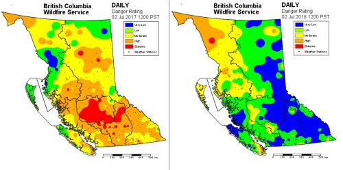Wildfire danger rating this year on July 2, compared to last year.