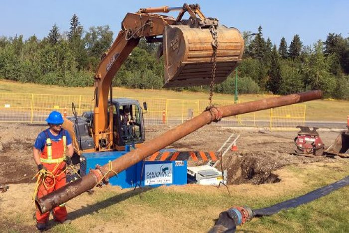 Crews with the City of Prince George working at the site of a large sinkhole near the intersection of Carney Street/20th Avenue and Winnipeg Street/Massey Drive. City of Prince George photo