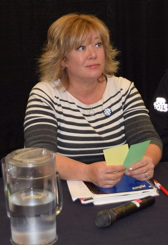 Candidate Terri McConnachie at the CBC/Prince George Public Library forum. Bill Phillips photo