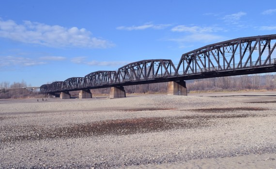 What is normally the Fraser River riverbed is now a gravel tundra as water flows in both the Nechako and Fraser rivers have decreased dramatically. Bill Phillips photo