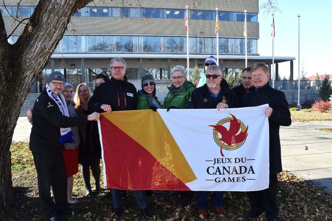 It's been almost four years since Prince George hosted the 2015 Canada Winter Games and the Games' flag is flying over City Hall once again. To mark the lighting of the Roly McLenahan Torch from Centennial Flame on Parliament Hill, which kicks off the torch run for the 2019 Canada Winter Games, the flag was raised here in Prince George. Bill Phillips photo
