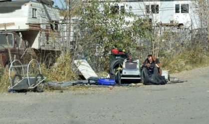 A homeless man at his camp spot at the foot of Third Avenue in Prince George. Bill Phillips photo