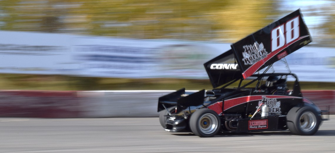 Jason Conn takes his sprint car for a few laps at PGARA. They're the fastest thing on asphalt. Bill Phillips photo