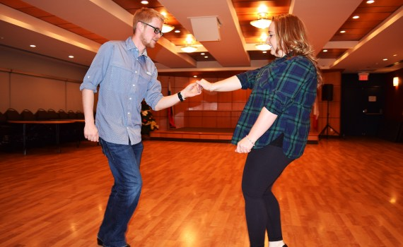 Steven Foster and Diana Duchscherer train for Boogie With the Stars. They are sponsored by Dunkley Lumber and will be raising money for Prince George Hospice. Bill Phillips photo