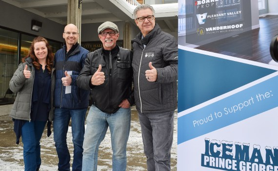 Amanda Hallmark of Integris Credit Union, PG Iceman organizer Jim Van Bakel, John Brink of the Brink Group, and Mayor Lyn Hall start the 30-day countdown to the Prince George Iceman. Bill Phillips photo
