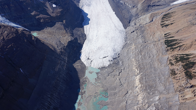 Evidence of recent glacier retreat can be seen in this aerial photo of the terminus of the Saskatchewan Glacier, in Jasper National Park, Canadian Rockies (credit: J. Shea).