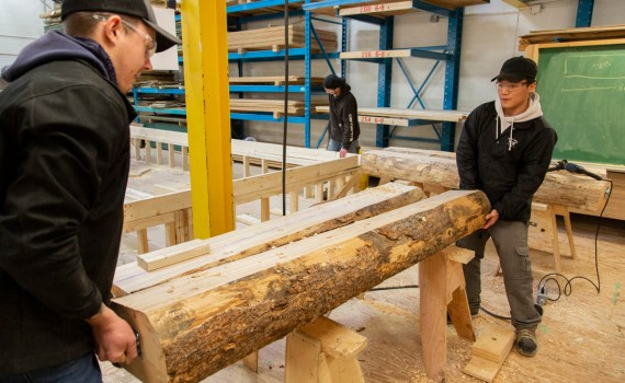 CNC carpentry students build flag holders for 2019 Para Nordic Skiing Championships. CNC photo