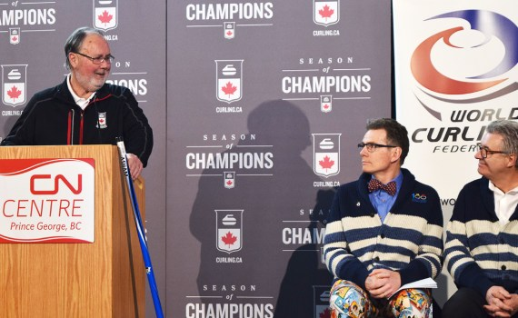Curling Canada's Gerry Peckham announces that Prince George will host the 2020 World Women's Curling Championships while host committee co-chair Glen Mikkelsen and Mayor Lyn Hall look on. Bill Phillips photo