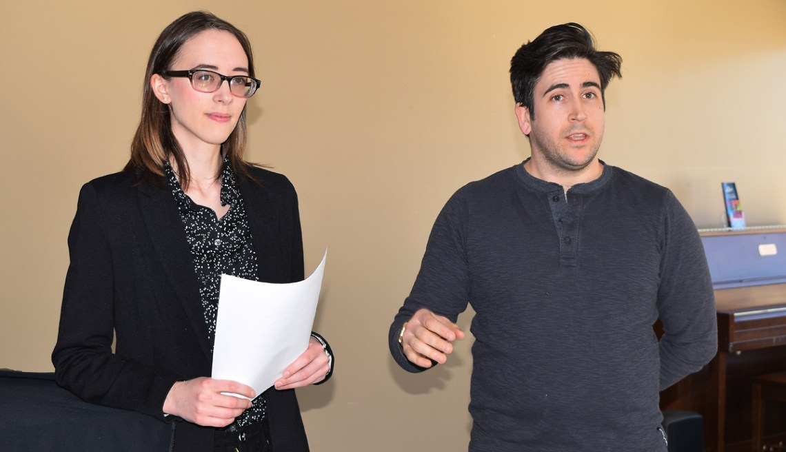 Veronica Church and Bradley Charles of the UNBC UNBC Musical Productions Club announce their production of Dirty Rotten Scoundrels will be held at Theatre Northwest. Bill Phillips photo