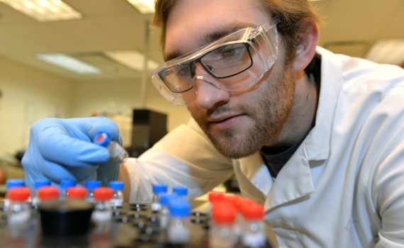 Lon Kerr working in the Northern Analytical Lab. UNBC photo