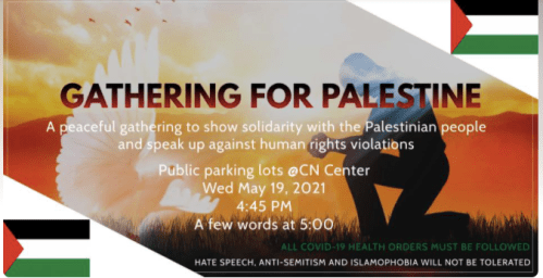 Rally in support of Palestinian people slated for Wednesday in CN Centre parking lot