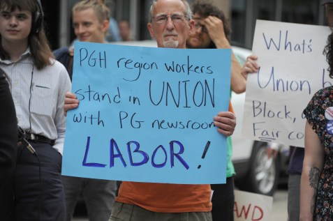 Supporters at the ​rally along North Shore Drive in front of the offices of the Pittsburgh Post-Gazette, Friday​,​ June 7, 2019, to support the Newspaper Guild of Pittsburgh and other PG Unions.​ (Kurt Weber)​
