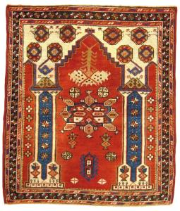 "Antique Turkish Bergamo Rug, size 3'10"" x 3'3"", on sale at 1stdibs.com"