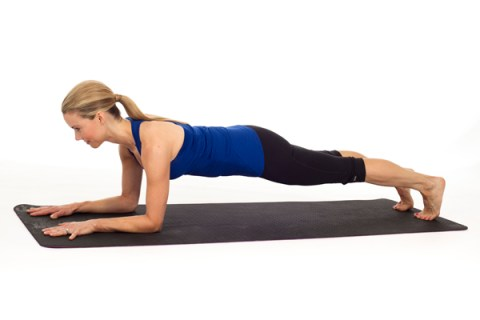 Forearm Plank yoga pose to strengthen abs.