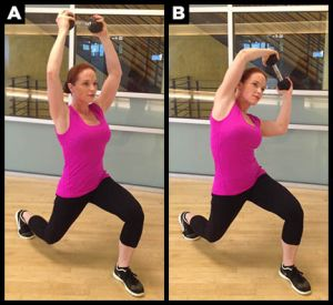 Front lunge exercise with weight