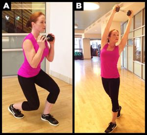 Split squat exercise with weight