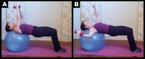 Woman demonstrating ball bridge workout.