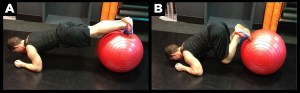 Man exercising abs with the ball plank crunch.