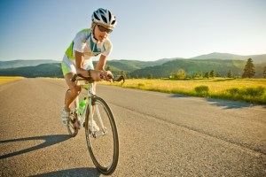 Professional triathlete Linsey Corbin cycles in MIssoula, MT