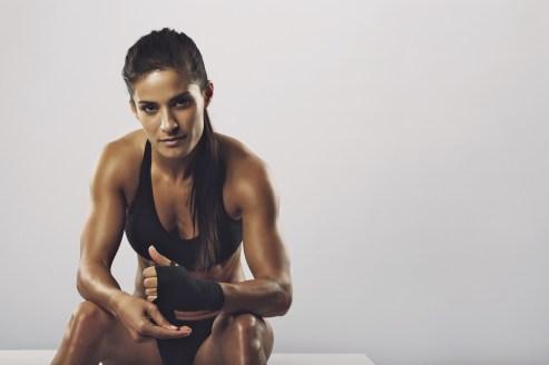 sweaty fit woman