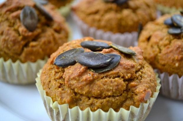 wheat-free pumpkin protein muffins