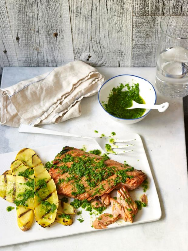 Spry Living|Grilled Wild Salmon with Garlic Scape Pesto and Summer Squash