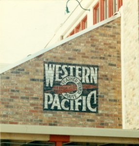Western Pacific Wall. An exterior wall sign hand lettered and aged at the Fullerton store. (763x800)