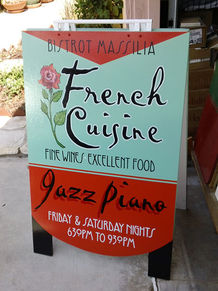 Hand painted and constructed A-frame business sign for the Bistrot Massilia