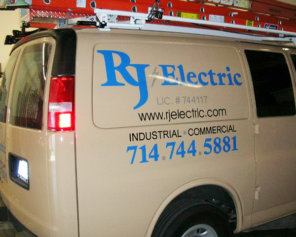 These vehicle graphics were done for RJ Electric