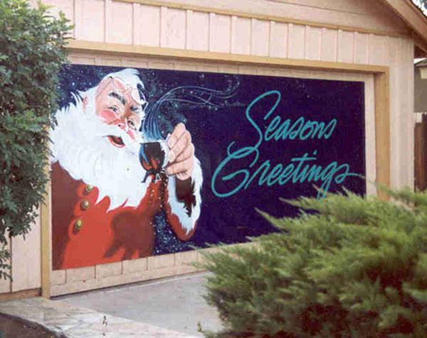 A custom hand painted banner reading Season's Greetings done in enamel paint