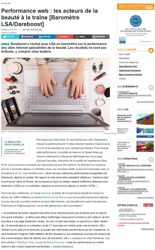 barometre webperf dareboost lsa | Partenariat : baromètre Performance Web du e-commerce