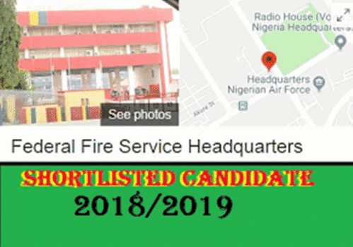 Federal Fire Service List (FFS) of Shortlisted Candidates 2018/2019