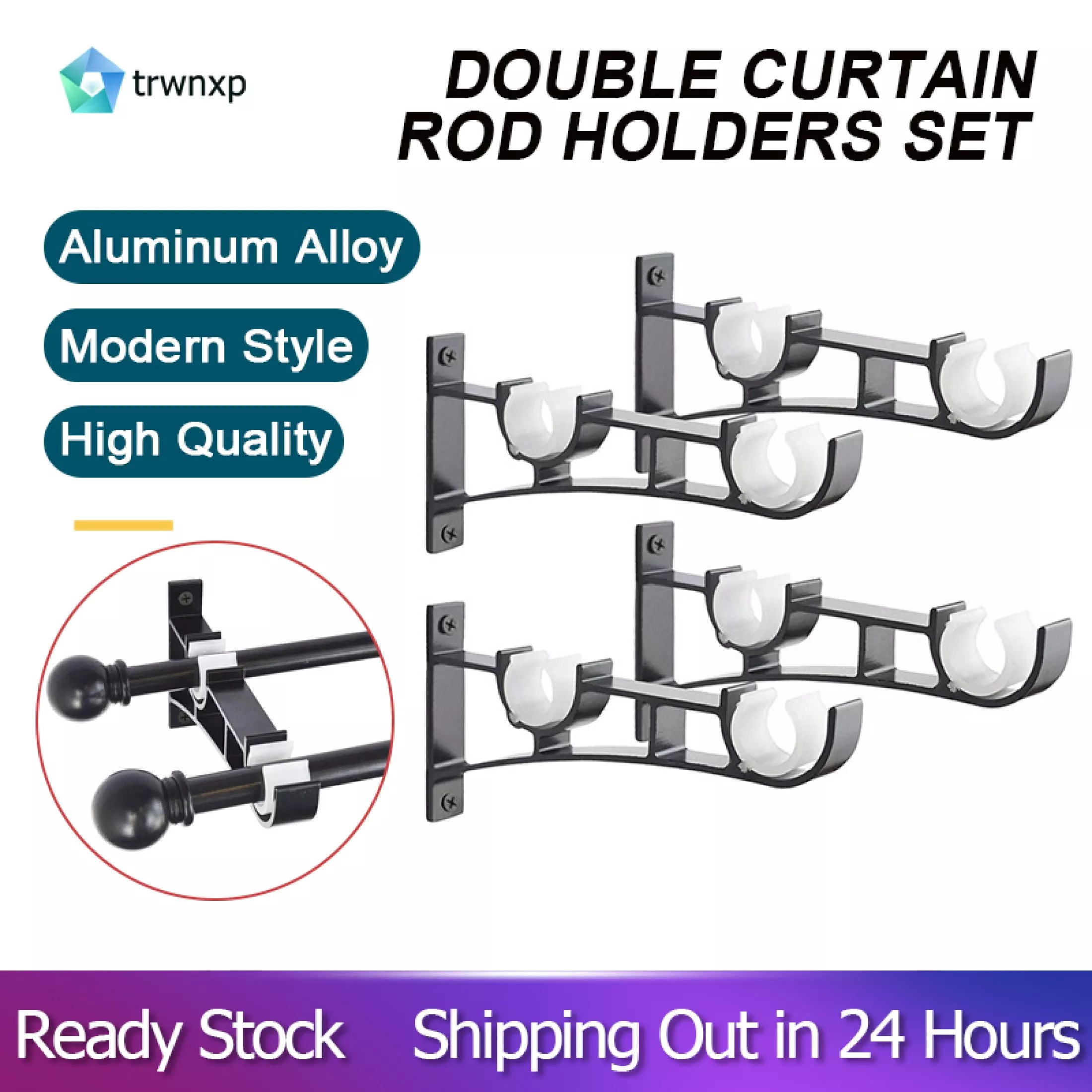 double curtain rod holders set curtain rod brackets tap right into window frame curtain rod hang curtain brackets for window bedroom home decoration