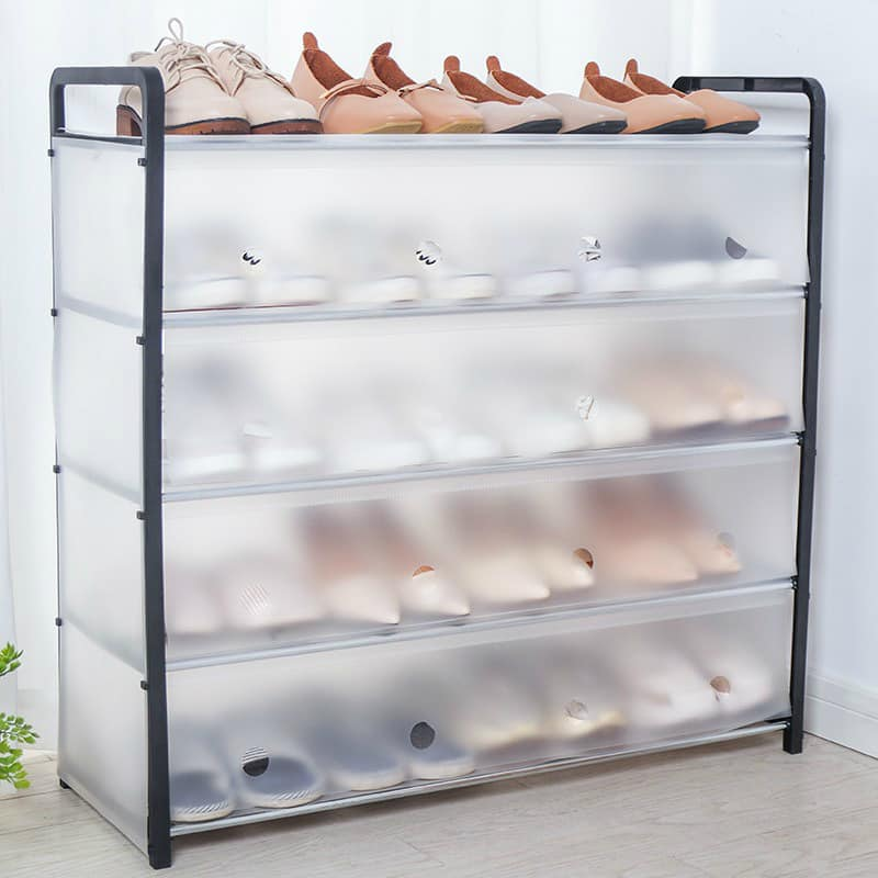5 layer plastic shoe rack with cover