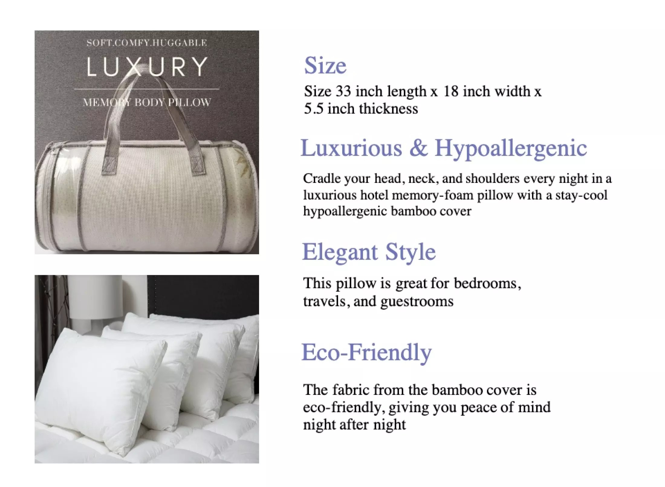 comfort living premium king size memory hotel pillow with hypoallergenic cover