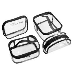 4Pcs Waterproof Transparent Pvc Bath Cosmetic Bag Women Make Up Case Travel Zipper Makeup Beauty Wash Organizer Toiletry Storage Kit