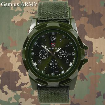GEMIUS ARMY Military Sport Style Army Men's Green Canvas Strap Watch