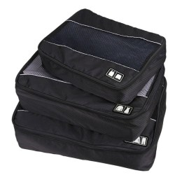 3 Pcs/Set Packing Cubes System High Capacity Clothes Luggage Mesh Travel Bags for Shirts Bra Sock Waterproof Bag