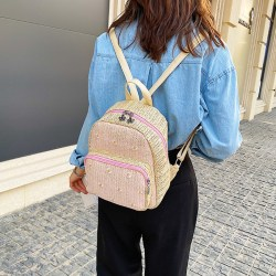 Bohemian Straw Woven Womens Backpack Fashion Campus Student School Bag Outdoor Travel Beach Backpack