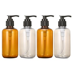 4X 300Ml Clear Soap Dispenser Plastic Foaming Bottle Liquid Pump Container