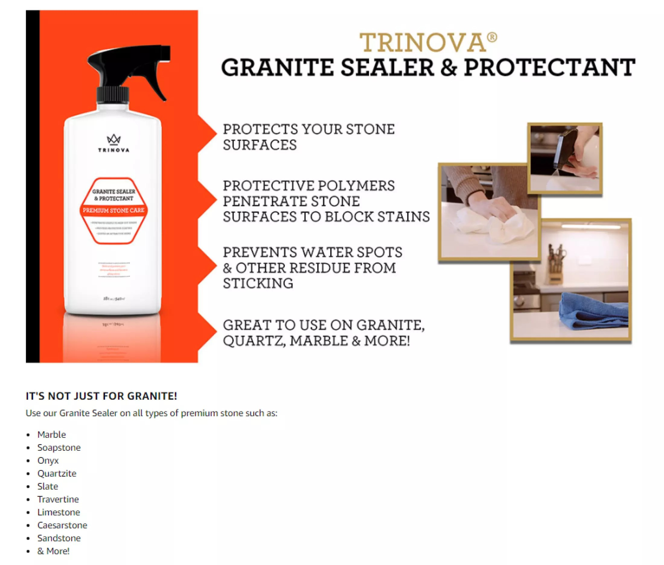 trinova granite sealer protector best stone polish protectant care product easy maintenance for clean countertop surface marble tile no