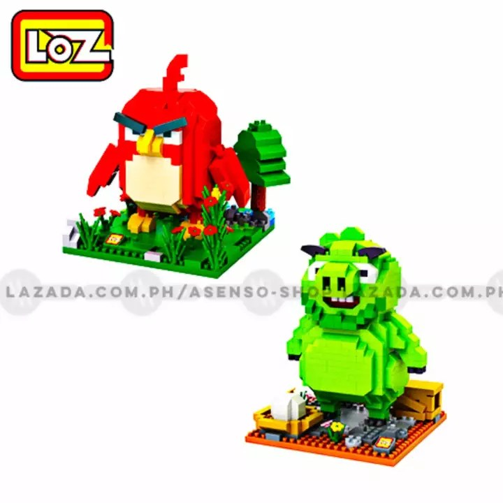 loz angry birds red the red bird and leonard the pig diamond nanoblock collectible building set