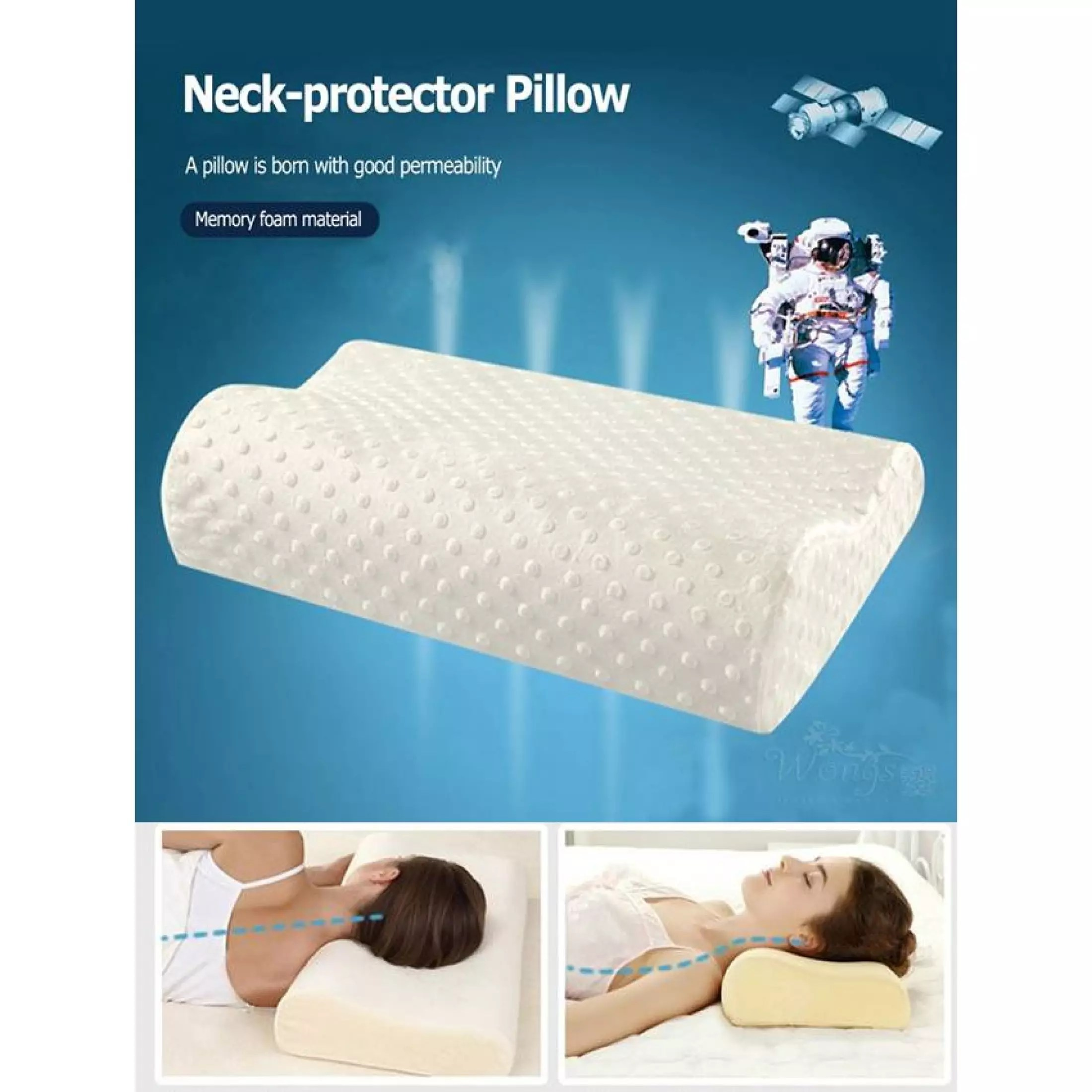 healifty contour pillow thermostatic memory foam pillow sleeping orthopedic pillow for neck pain support side sleepers back and stomach sleepers